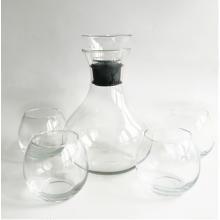 Decantador de vino transparente y copa de vino sin tallo con tapón de acrílico