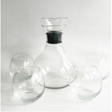 Klare Weinkaraffe & stammloses Weinglas mit Acrylstopfen