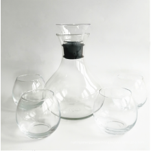 Clear Wine Decanter&Stemless Wine Glass With Acrylic stopper