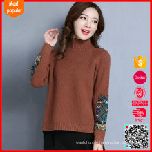 Hochwertiger Stand-Neck Pullover Frauen 100% Kaschmir-Pullover