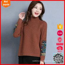 Suéter de la cachemira del 100% de las mujeres del suéter del cuello del soporte de la alta calidad