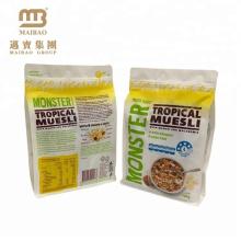Zusammengesetzter materieller quadratischer unterer Tiefdruck-Heißsiegelungs-Plastik Gewohnheit druckte Lebensmittel-Verpackentaschen mit Reißverschluss