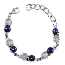 Fabulous Lapis Lazuli Rainbow Moonstone Gemstone & 925 Sterling Silver Antique Style Bracelet Jewelry