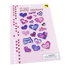 Vente chaude Chine Conception Sweet Heart Lovely Cartoon Die Cut Stickers, enfants Décor Cartoon Puffy Sticker