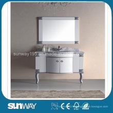 Европейский стиль Античный шкаф для ванной комнаты с мраморным верхом (SW-8012A)