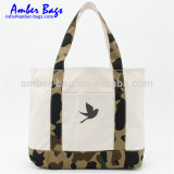 heavy duty camo pattern canvas tote bag