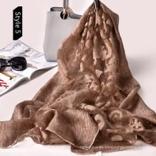 Agradable y elegante estampado de algodón personalizado con estilo sucio y cortado con láser de la bufanda floral