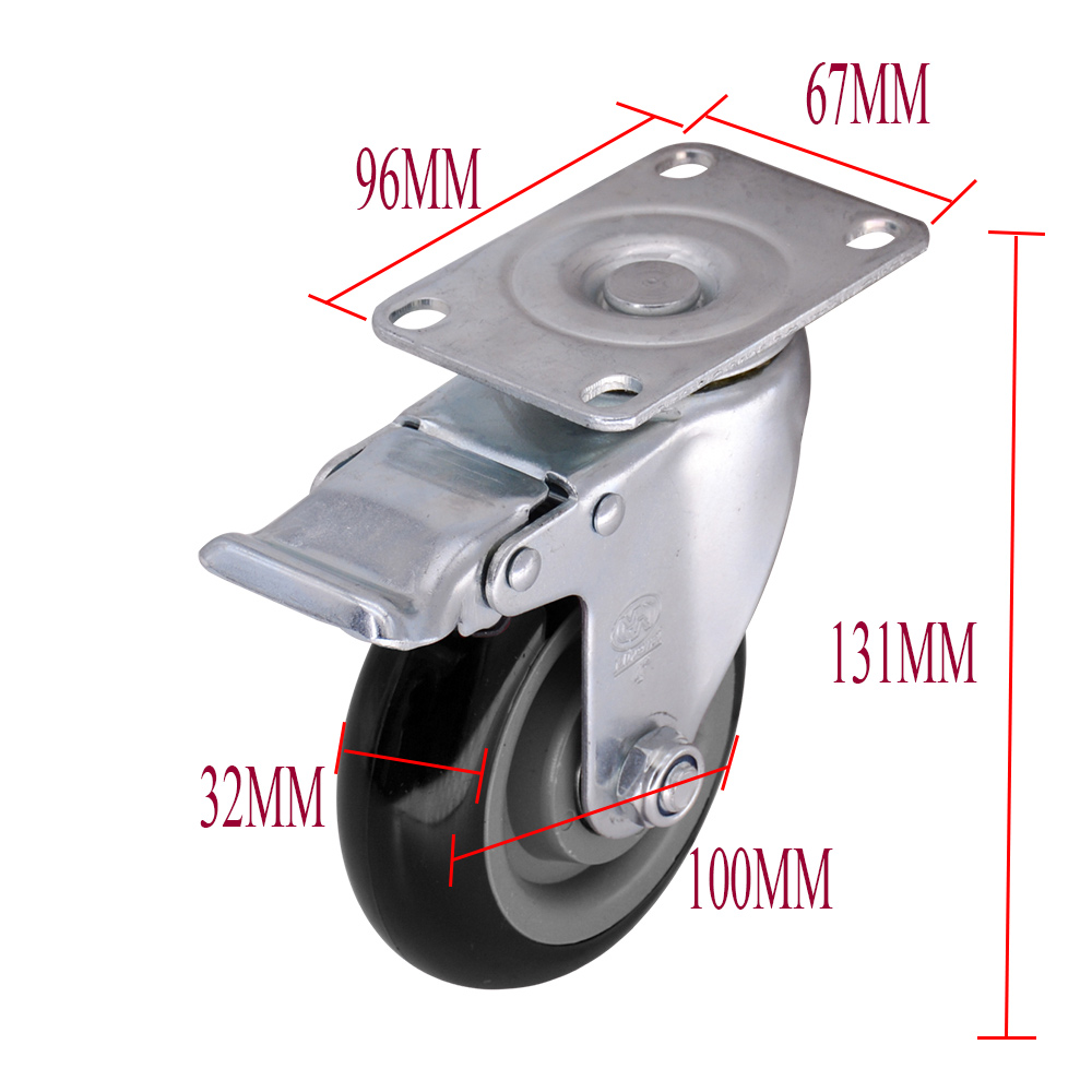 4 Inch Swivel Caster With Brake