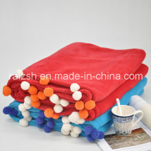 Polyester Thick Long Knitted Blanket Super Soft Plain Coral Blanket