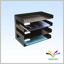 Офис 4 полки черный металлический настольный горизонтальный файл держатель