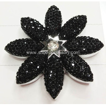 Charming Shoe Ornaments, Nice Vintage Black Metalized Plastic Shoe Flower
