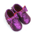 Elegant Purple Genuine Leather Bow Baby Moccasin Shoes