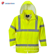 Custom Safety Hi Vis ANSI Reflective Tape Hood Waterproof Rain Jacket Lightweight High Visibility Security Raincoat Hooded