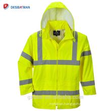 Custom Safety Hi Vis ANSI Reflective Tape Hood Waterproof Rain Jacket Lightweight High Visibility Security Raincoat Hooded