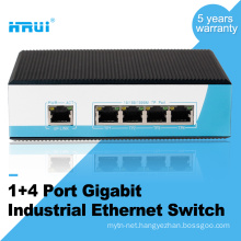 Din rail type gigabit 4 port ethernet industrial switch