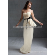 HB2100 Champagne strapless sleeveless with black ribbons gatherd chiffon top full length two pieces chiffon bridesmaid dress