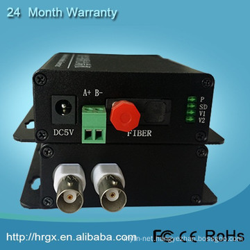 Fiber transmitter and receiver 2 bnc 2 channel convert analog cctv to ip camera