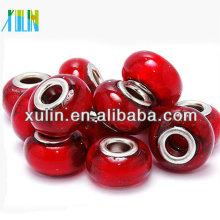 Perlas de esmalte rojo liso estilo europeo 8 * 14 mm