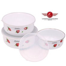 New Decal Enamel Ice Bowls Food Storage Box with PP Lid