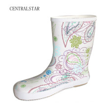 Botas de chuva de borracha limpo branco para meninas Rab3011