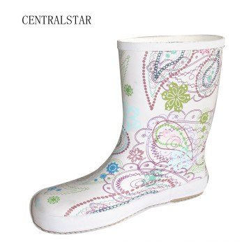 White Clean Rubber Rain Boots for Girls Rab3011