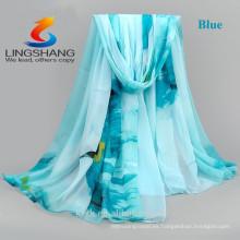 La bufanda caliente de la venta de LINGSHANG DXF3 elegantes y la manera suave de las señoras de los accesorios del cuello imprimió la bufanda del georgette de la gasa