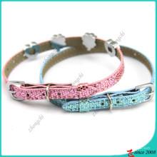 Hellblau Glitter Leder Katzen Halsband Großhandel (PC16041403)