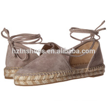 Confortable Lady Ankle Wrap Chaussures Espadrille Flat Casual Shoe