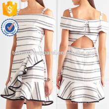 Épaule à manches courtes froissées à volants ivoire et noir rayé Mini robe Fabrication en gros de mode femmes vêtements (TA0024D)