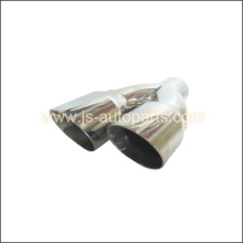 2.25 INCH INLET TWIN 3 INCH OUTLET OFFSET ROUND CONE EXHAUST TAIL PIPE TRIM TIP  R HAND
