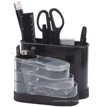 Organisateur de papeterie de bureau en plastique pour bureau en noir Color408