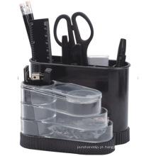 Organizador de papelaria de rotação de mesa de plástico em preto Color408