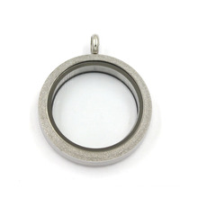 Silver Matte 316L Stainless Steel Jewelry Glass Floating Locket