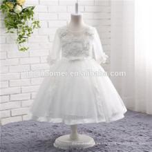 2017 nueva moda de encaje niña de las flores vestido de color blanco de manga larga en stock niñas vestido de novia para bebés