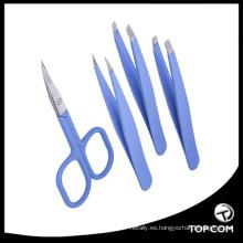 Juego de pinzas y tijeras para dar forma a las cejas, inclinación de precisión de acero inoxidable y puntas puntiagudas, ideal para la depilación enrojecida