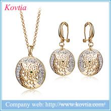 Luxury jewelry set fashion dubai gold leopard head jewelry set africa women and sex animal jewelry sets