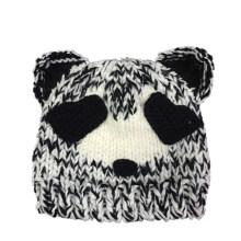 Chapeau de panda tricoté à la main, bonnet tricoté perlé, chapellerie fait main