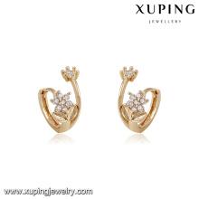 94213 xuping nuevos diseños con forma de flor imitación aro de diamantes pendiente