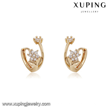 94213 xuping new designs with flower shape imitation diamond hoop earring
