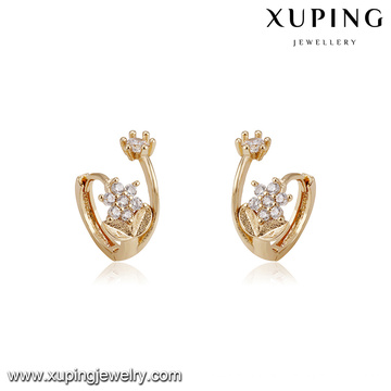 94213 xuping novos projetos com flor forma de imitação de diamante brinco de argola