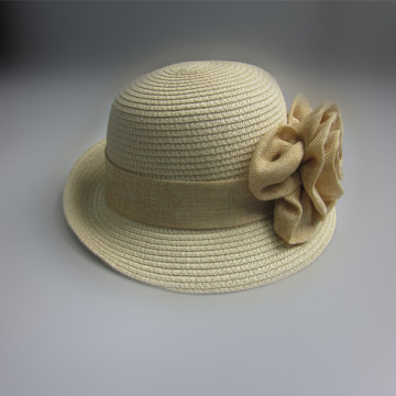Ladies Elegant Paper Straw Hat With Big Flower