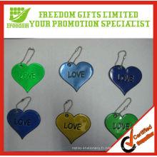 Porte-clés promotionnel réfléchissant en forme de coeur