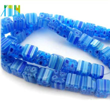 Charm Großhandel Quadrat Glas Kristall Saphir Millefiori Perlen