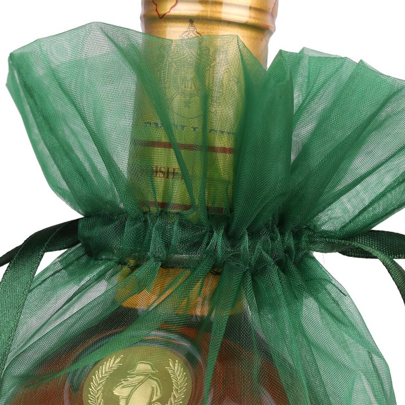 Promotional custom wine bottle organza ribbon bag