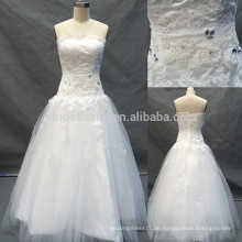 2014 Real trägerlosen Full-Length Tulle Made Zipper Ballkleid Brautkleid Brautkleid mit Spitze Applique Perlen Akzent NB0786