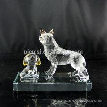 Beau cadeau cristal chien Figurine poli cristal chiot pour bébé enfants Souvenirs