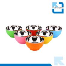 Corazón de patrón de coloridos niños de acero inoxidable tazones de arroz y tazones de plástico al por mayor