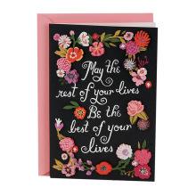 Cartão cor-de-rosa do convite do casamento do cartão de casamento da assinatura da flor branca