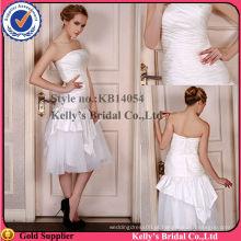 Quente venda strapless plissado bodice organza saia preto e branco vestidos de noiva