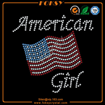 Wholesale Price for July 4Th Iron On Rhinestone Transfer American Girl USA Flag rhinestone transfers export to South Africa Exporter